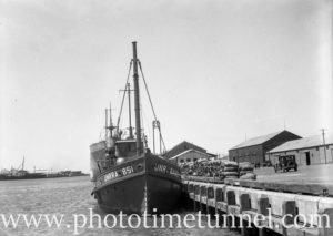 Boat for UNRRA (United Nations Relief and Rehabilitation Administration) in Newcastle Harbour, NSW, February 11, 1946. (3)