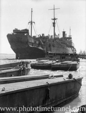 Derelict turret ship Mokatam at Stockton, March 27, 1946. (1)