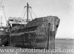 Derelict turret ship Mokatam at Stockton, Newcastle, NSW, March 27, 1946. (2)
