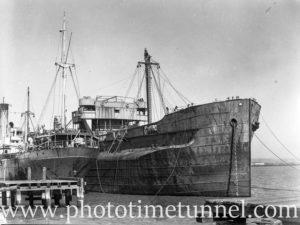 Derelict turret ship Mokatam at Stockton, Newcastle, NSW, March 27, 1946. (3)