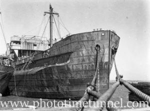 Derelict turret ship Mokatam at Stockton, NSW, March 27, 1946. (4)