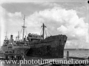 Derelict ships Mokatam and Omaha at Stockton, Newcastle, NSW, April 26, 1949. (1)