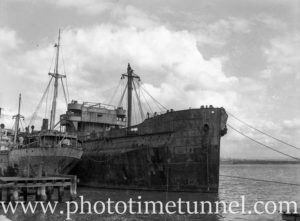 Derelict ships Mokatam and Omaha at Stockton, Newcastle, NSW, April 26, 1949. (2)