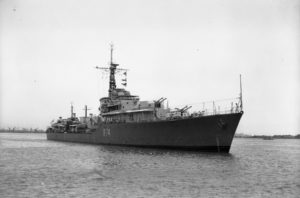 British destroyer HMS Hogue arriving in Newcastle, NSW, on January 5, 1946.