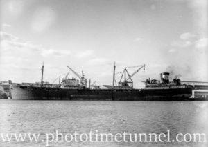 Oil tanker at Newcastle State Dockyard, July 5, 1946.