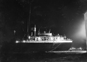 Night view of shipping in Newcastle Harbour, April 2, 1947.