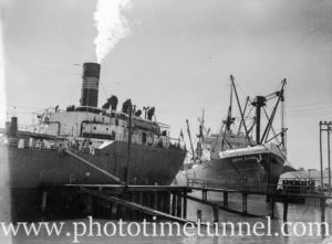 Ship Empire Elaine in Newcastle Harbour, NSW, April 10, 1947.