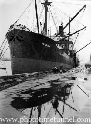 Ship Goulburn in Newcastle Harbour, NSW, May 20, 1947.