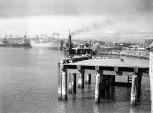 Shipping in Newcastle Harbour, April 10, 1947.