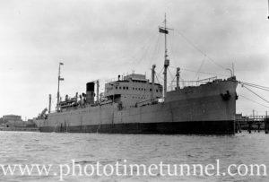 Ship Lowlander in Newcastle Harbour, postwar 1940s.