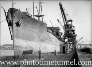 Ship loading coal in Newcastle, NSW, February 4, 1946.