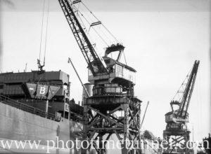 Ship at coal cranes, Newcastle, NSW, February 4, 1946. (2)