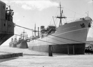 Ship George M. Livanos in Newcastle Harbour, circa 1940s.