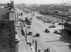 View towards Civic Railway Station, Newcastle, NSW, May 20, 1939. (1)