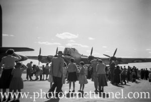 Avro Lincoln bomber at an air show at RAAF Williamtown fighter base, near Newcastle, NSW, in the early 1960s.