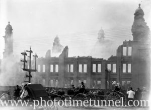 Aftermath of fire at David Cohen warehouse, Newcastle, NSW, January 20, 1908.