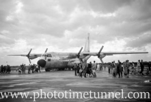 Lockheed C-130 Hercules aircraft at an air show at RAAF Williamtown fighter base, near Newcastle, NSW, in the early 1960s. (2)