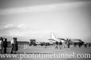 Lockheed C-130 Hercules aircraft at an air show at RAAF Williamtown fighter base, near Newcastle, NSW, in the early 1960s