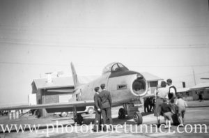 Sabre jet fighter at an air show at RAAF Williamtown fighter base, near Newcastle, NSW, in the early 1960s. (2)
