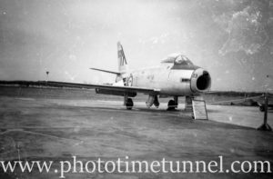Sabre jet fighter at an air show at RAAF Williamtown fighter base, near Newcastle, NSW, in the early 1960s. (3)