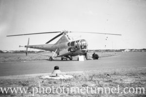 Sikorsky S-51 helicopter at an air show at RAAF Williamtown fighter base, near Newcastle, NSW, in the early 1960s.