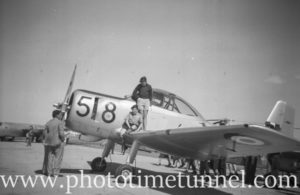 Winjeel trainer at an air show at RAAF Williamtown fighter base, near Newcastle, NSW, in the early 1960s.