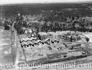 Aerial view of Turton's brickworks, East Maitland, circa 1940s. (1)