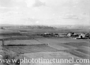 Aerial view in the Maitland district, NSW, looking towards Walka Water Works, circa 1940s.