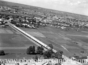 Aerial view of Maitland, NSW, showing the Long Bridge, circa 1940s. (3)