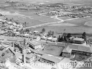 Aerial view of Maitland, NSW, showing the hospital, circa 1940s. (6)