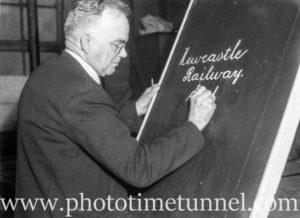 Signwriter Mr Richardson at Newcastle Railway Station (1)