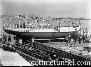 Ferry hull launch preparation at Stockton, Newcastle, NSW, February 3, 1945.