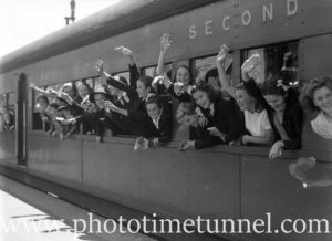 National Fitness Association campers at Newcastle Railway Station, NSW, c1940s (1)