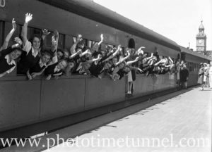 National Fitness Association campers at Newcastle Railway Station, NSW, c1940s (2)