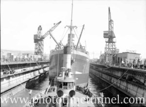 Newcastle harbour punt Kooroongaba in floating dock, Newcastle, December 18, 1946. (1)