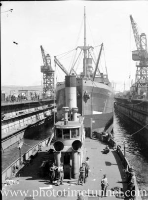 Newcastle harbour punt Kooroongaba in floating dock, Newcastle, December 18, 1946. (3)