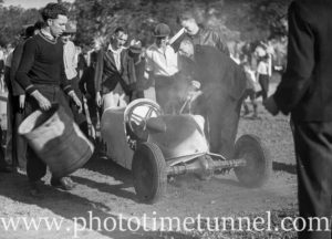 Extinguishing fire in go kart at Back to Wallsend (Newcastle, NSW) celebrations, October 26, 1935. (11)