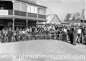 Cyclists preparing to race at Back to Wallsend (Newcastle, NSW) celebrations, October 26, 1935. (5)