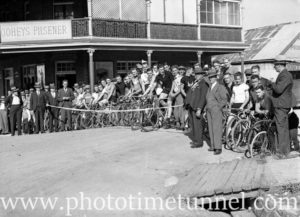 Cyclists preparing to race at Back to Wallsend (Newcastle, NSW) celebrations, October 26, 1935. (6)