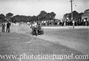 Motorcycle and sidecar at Back to Wallsend (Newcastle, NSW) celebrations, October 26, 1935. (9)