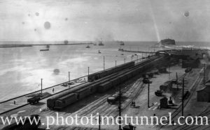 View over Newcastle East goods yard towards Nobbys, September 30, 1937.