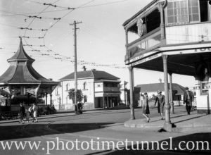 Lemongrove Hotel, rotunda and tramlines at Wallsend, Newcastle, NSW, April 11, 1946.