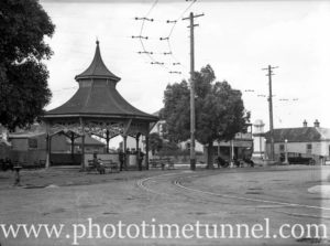 Rotunda and tramlines at Wallsend, Newcastle, NSW, April 11, 1946.