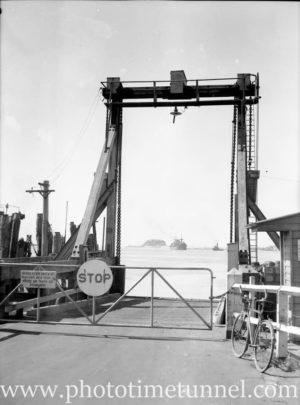 Vehicular ferry wharf at Stockton, Newcastle NSW, 1946.
