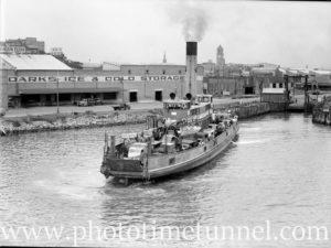 Harbour punt Lurgurena leaving Newcastle, NSW, for Stockton, February 12, 1947.