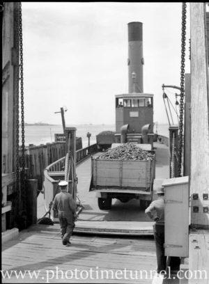 Harbour punt Lurgurena undergoing trials in Newcastle Harbour, NSW, October 9, 1946. (1)
