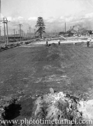 Preparation of Stewarts and Lloyds oval, Mayfield, NSW, circa 1946.