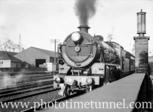Locomotive 3611 pulling Newcastle Flyer from Newcastle, March 26, 1940.