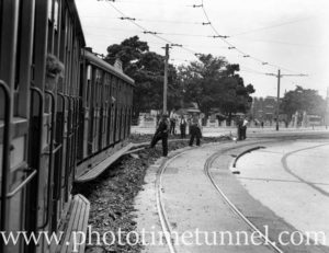 Tram near Gregson Park, Tudor Street Hamilton, Newcastle, NSW, December 1939.