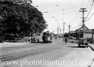 Tram on the Styx Creek bridge, Maitland Road, Tighes Hill, 1939.